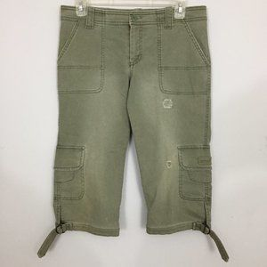 AEO Womens 4 Olive Green Distressed Cargo Shorts